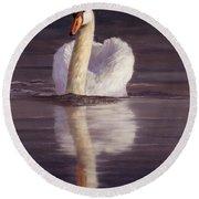 Swan Round Beach Towel by David Stribbling