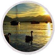 Swans In Sunset Round Beach Towel
