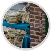 Charleston Sweet Grass Baskets Round Beach Towel