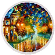 Swimming Sky Round Beach Towel by Leonid Afremov