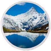 Swiss Alps - Schreckhorn Reflection  Round Beach Towel