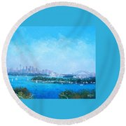 Sydney Harbour And The Opera House Cityscape View Round Beach Towel