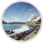 Sydney Harbour In Australia By Day Round Beach Towel