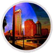 Tampa History In Reflection Round Beach Towel