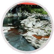 Taftsville Covered Bridge Vermont Round Beach Towel