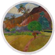 Tahitian Landscape Round Beach Towel