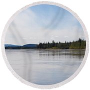 Taiga Hills At Yukon River Near Dawson City Round Beach Towel