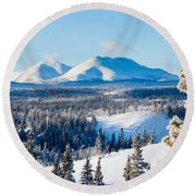 Taiga Winter Snow Landscape Yukon Territory Canada Round Beach Towel