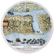 Taking Of St. Augustine Round Beach Towel