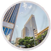 Tall Highrise Buildings In Uptown Charlotte Near Blumenthal Perf Round Beach Towel