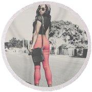 Tall Young Black Woman Modelling Handbag Accessory Round Beach Towel