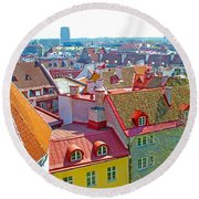 Tallinn From Plaza In Upper Old Town-estonia Round Beach Towel