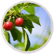 Tart Cherries Round Beach Towel