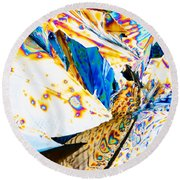 Tartaric Acid Crystals In Polarized Light Round Beach Towel