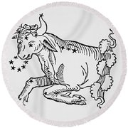 Taurus  Round Beach Towel