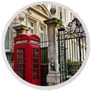 Telephone Box In London Round Beach Towel by Elena Elisseeva