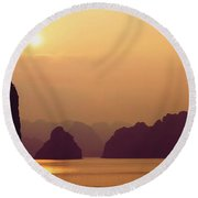 Temple At Sunset Round Beach Towel