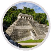 Temple Of Inscriptions Round Beach Towel