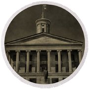 Tennessee Capitol Building Round Beach Towel