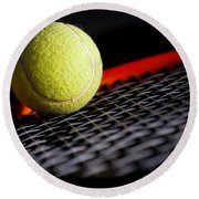 Tennis Equipment Round Beach Towel by Michal Bednarek