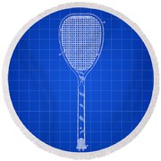 Tennis Racket Patent 1887 - Blue Round Beach Towel
