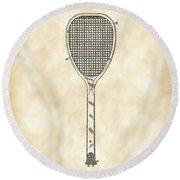 Tennis Racket Patent 1887 - Vintage Round Beach Towel
