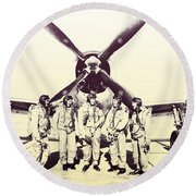 Test Pilots With P-47 Thunderbolt Fighter Round Beach Towel