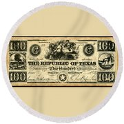 Texas Banknote, 1839 Round Beach Towel