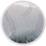 Texture Of Disintegrating Candelized Melting Ice Round Beach Towel