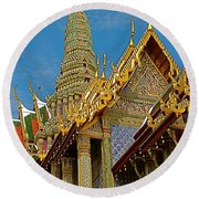 Thai-khmer Pagoda At Grand Palace Of Thailand In Bangkok Round Beach Towel