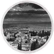The Alhambra And Albaycin In Granada Round Beach Towel