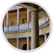 The Alhambra Palace Of Carlos V Round Beach Towel by Guido Montanes Castillo