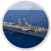 The Amphibious Assault Ship Uss Boxer Round Beach Towel