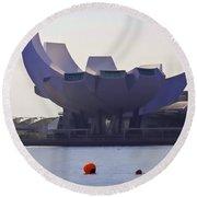 The Artscience Museum In Singapore Round Beach Towel