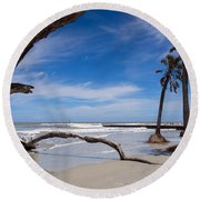 The Beach At Hunting Island State Park Round Beach Towel