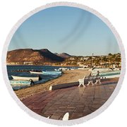 The Beachside Strolling Malecon Round Beach Towel