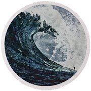The Blue Crush Round Beach Towel