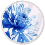 The Blue Dahlia Flower Round Beach Towel