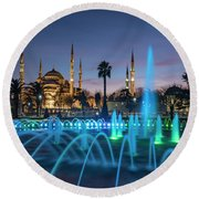 The Blue Mosque Round Beach Towel