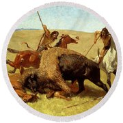 The Buffalo Hunt Round Beach Towel by Frederic Remington