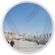 The Bund In Shanghai China Round Beach Towel