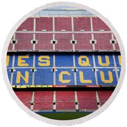 The Camp Nou Stadium In Barcelona Round Beach Towel