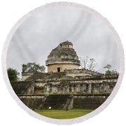 The Castillo In Chichen Itza Round Beach Towel