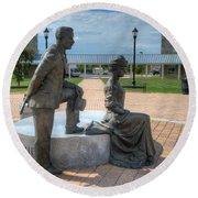 The Catherine And Milton Hershey Statue Round Beach Towel