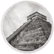 The Famous Kulkulcan Pyramid At Chichen Itza Round Beach Towel