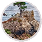 The Famous Lone Cypress Tree At Pebble Beach In Monterey California Round Beach Towel