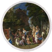 The Feast Of The Gods Round Beach Towel