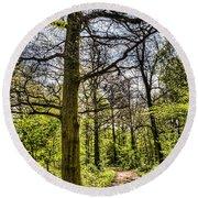 The Forest Path Round Beach Towel by David Pyatt