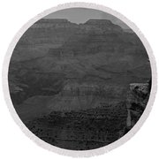 The Grand Canyon In Black And White Round Beach Towel