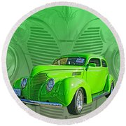 The Green Machine Round Beach Towel